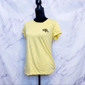Maison Jules Light Yellow Sequin Dragonfly Top